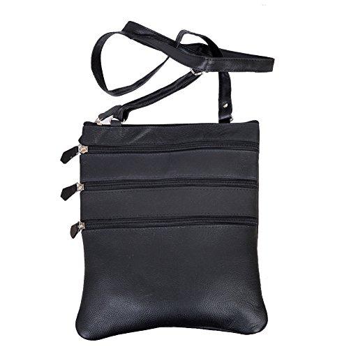 Champs Women's Genuine Multi-Compartment Leather Cross Body Zipper Bag Black