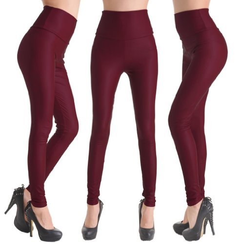 Wiipu Wine Red Faux Leather High Waist Leggings Stretch Pu Pants(Ln189)- Large