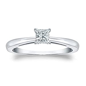 Jewel Oak 1/4 ct. tw. Princess-cut Diamond Solitaire Ring in 14k White Gold (G-H, SI2-I1), Size 7