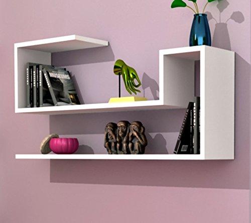 AIRY Mensola da muro - Bianco - Mensola Parete - Mensola Libreria - Scaffale pensile per studio / soggiorno in Design moderno