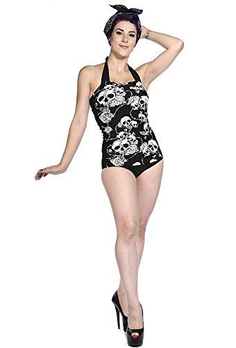 Banned-Rockabilly Neck Holder costume da bagno-Rose e teschio Tattoo anni 50Retro Swimsuit Schwarz/Weiß XS
