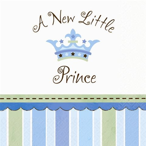 "Amscan Cute Little Prince Beverage Baby Shower Party Supply Paper Napkins, 5.5 x 5.5"", Blue"