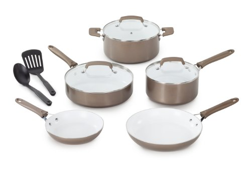WearEver C944SA64 Pure Living Nonstick Ceramic Coating PTFE-PFOA-Cadmium Free Dishwasher Safe 10-Piece Cookware Set, Champagne Gold