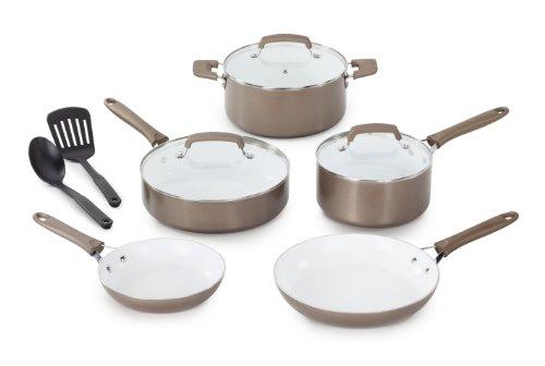 WearEver C944SA64 Pure Living Nonstick Ceramic Coating PTFE-PFOA-Cadmium Free Dishwasher Safe 10-Piece Cookware Set, Champagne Gold