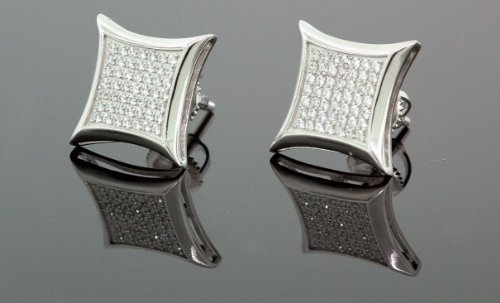 Mens 925 Sterling Silver White CZ Square Earrings 20MM