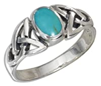 Sterling Silver Oval Turquoise Ring with Celtic Knots Shank