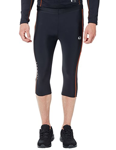 Ultrasport Men's Compression Effect and Quick-Dry-Function Running Capri Pants - Black/Neon Orange, Medium