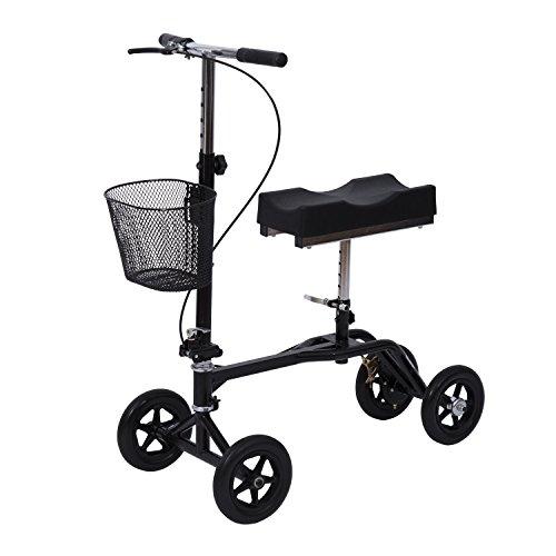 HomCom Steerable Knee Walker Scooter with Basket – Black