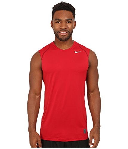 Nike Mens Dri Fit Pro Cool Fitted Sleeveless Training T Shirt (Large, Gym Red)