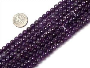 6mm round gemstone amethyst beads strand 15
