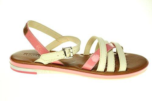 Geox J Y. Fidia F, Sandali bambine Bianco White/Pink, Bianco (White/Pink), 37