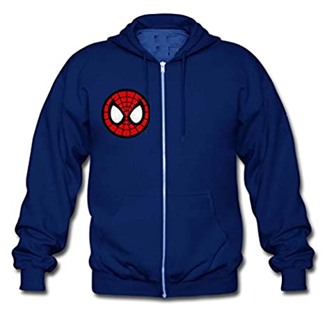 Youth Boy Men Spiderman Zip Up Sport Coat Medium Blue