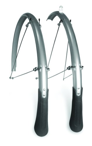 Planet Bike Cascadia Road Front and Rear Bicycle Fender Set with 130mm Mud Flaps (Silver Aluminum, 35mm Wide)
