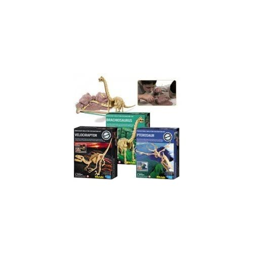 Kidz Lab Dinosaur Excavation Dig Kits - Gift Pack - Set of 3 - Velociraptor Pteranodon and Brachiosaurus