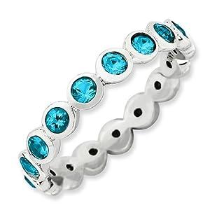 Size 6 - Swarovski Blue Topaz Eternity Band Sterling Silver Stackable Ring