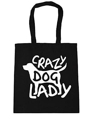 HippoWarehouse Crazy Dog Lady Tote Shopping Gym Beach Bag 42cm x38cm, 10 litres