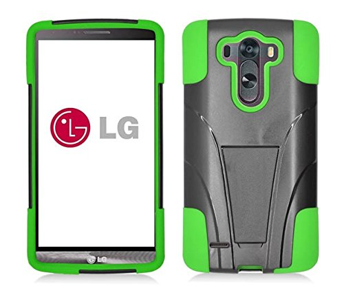 Lg G3 Vigor - Black & Neon Green Dual Layer Impact Defender Shockproof Armor Kickstand Cover Case + Atom Led Keychain Light