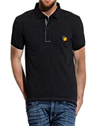 Roar And Growl Men's Polo (RGT003PQ Black_Black_Small)