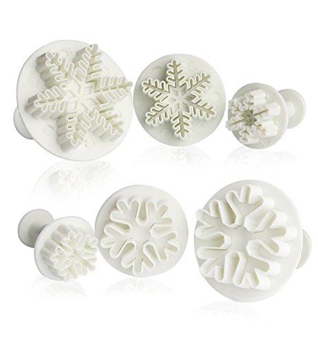 ilauke 6PCS Emporte-pièces Moule Flacon de Neige Snowflake pour Décoration de Cupcake Cookie Gâteau Fondant