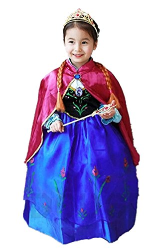 ELSA & ANNA® Ragazze Principessa abiti partito Vestito Costume IT-Dress-SEP208 (DRESS-208, 4-5 Anni)