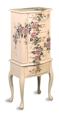 Hand Painted Floral Jewelry Armoire