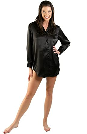 Del Rossa Women's Sexy Satin Nightshirt with Sleep Mask - Sleepshirt, Small Black (A0746BLKSM)