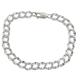 925 Sterling Silver Double Curb Traditional Link Charm Bracelet
