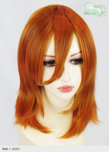 スキップウィッグ 魅せる シャープ 小顔に特化したコスプレアレンジウィッグ フェザーミディ オレンジブラウン
