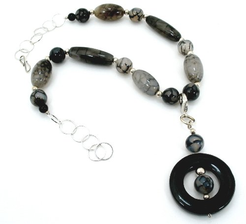 Classic, One of a Kind ,Designer Jewelry, Semi Precious Stones , Reptile Agate Enhancer Pendant Necklace