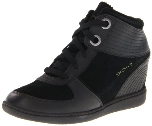 Skechers USA Ltd Women's Plus 3 Suede Black Platforms Heels 48030 7 UK