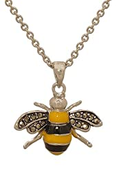 Bumblebee Pendant with Genuine Marcasite and Chain
