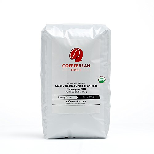 Green Unroasted Organic Fair Trade Nicaraguan Shg, Whole Bean Coffee, 5-Pound Bag (Whole Bean Coffee Unroasted compare prices)