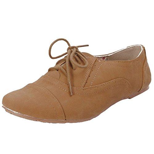 Nature Breeze Women Cambridge-03 flats-shoes Tan 7.5