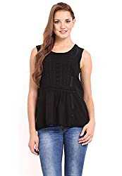 Femenino Black Coloured Embellished Top