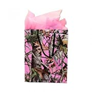 Pink Camo Gift Bag Next Camo Vista 10 x 12.5 x 4.25 includes Pink Tissue