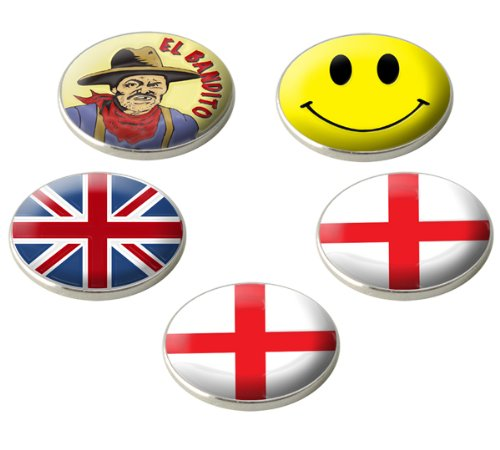 Asbri A Set Of 5 Various England/Novelty Golf Ball Markers