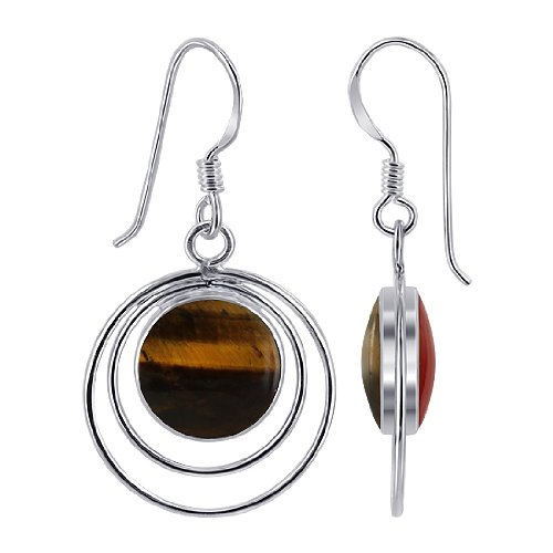 EMES081 Sterling Silver 10mm Round Double Sided Tiger Eye and Simulated Coral Wired Design French Ear Wire Dangle Earrings