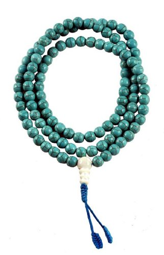 7mm Tibetan Dyed Howlite Simulated Mother of Pearl Guru Bead Mala Necklace Prayer Beads, #10