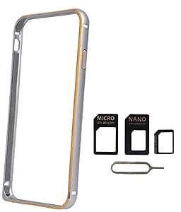 Avzax Bumper Cover For Sony Xperia Z1 (Silver) + Sim Card Adapter