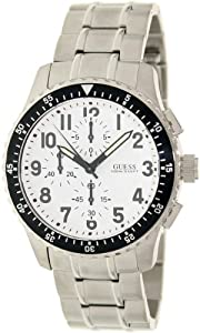 Guess Men's U15087G1 Silver Stainless-Steel Quartz Watch with White Dial