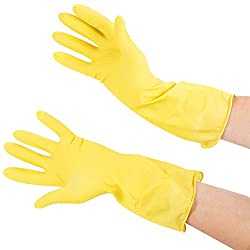 3 PAIRS RUBBER HAND GLOVES REUSABLE WASHING CLEANING KITCHEN GARDEN (8 IN)