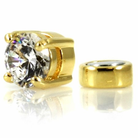Men's Solitaire Stud Non Pierced Magnetic Earring (1/2 CT Round Cut) - Clear/Gold