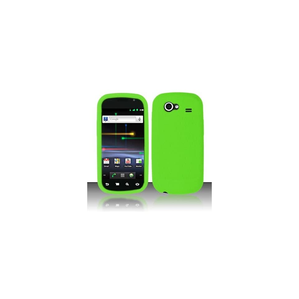 Neon Green Soft Silicone Skin Gel Cover Case for Samsung Nexus S I9020 + Lcd Screen Guard + Microfiber Pouch Bag