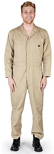 Natural Workwear - Mens Long Sleeve Basic Blended Coverall, Khaki  - M to XXL Tall