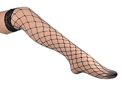 Vienna Women's Flower Lace Stretchy Fishnet Thigh High Mesh Stockings