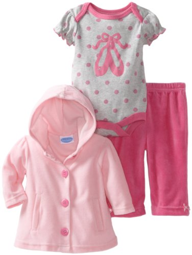 Bon Bebe Baby-Girls Newborn Ballerina 3 Piece Velour Jacket And Pant Set, Pink/Gray, 6-9 Months front-497539