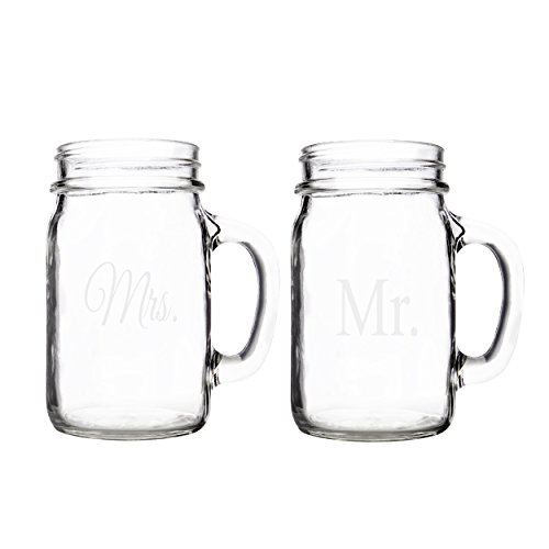 Cathy's Concepts Mr. and Mrs. Old Fashioned Drinking Jar Set, Clear (Margarita Mason Jar Glasses compare prices)