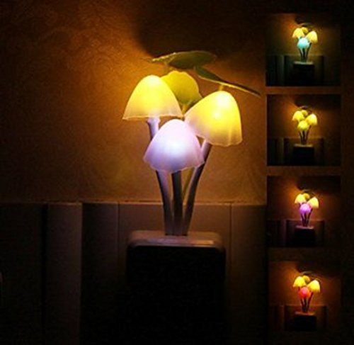 Anseahawk Colorful Romantic Led Mushroom Plants Style Wall Night Light Sensor Kids Bed Light Night Lamp for Your Home Room with US Plug