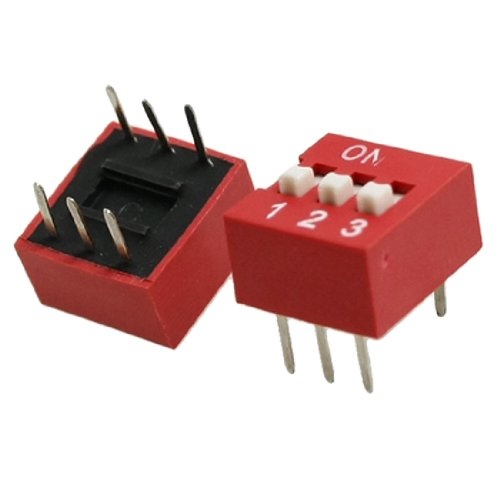 10 Pcs 2.54Mm Pitch 3 Positions 6 Pin Red Dip Switch 3P