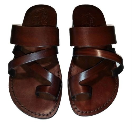 Genuine Leather Sandals Brown Biblical / Roman / Greek Jesus Shoes Flip-Flops Size Us Men 12 / Us Women 14 / Europe 46 - Made In Jerusalem back-1012567